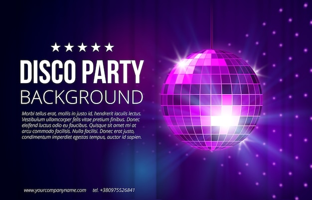 Fondo de fiesta disco. bola, discoteca y vida nocturna, esfera brillante y brillante, ilustración vectorial