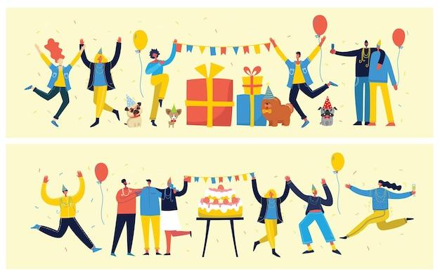 Fondo de fiesta. feliz grupo de personas saltando sobre un fondo brillante.