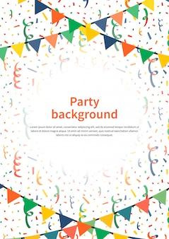 Fondo de fiesta con guirnaldas y confeti en blanco, ilustración vertical de tamaño a4