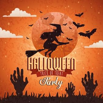 Fondo de fiesta halloween con bruja volando
