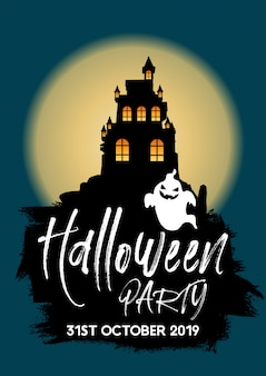 Fondo de fiesta de halloween con castillo y fantasma