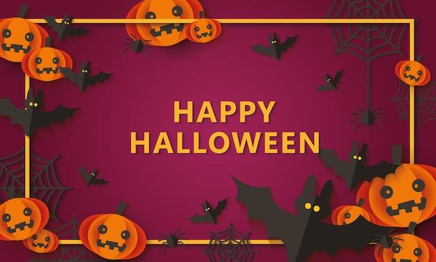 Fondo de fiesta de halloween feliz con decoración de arañas y murciélagos