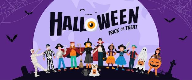 Fondo de fiesta de halloween, niños en disfraces de halloween.