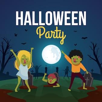 Fondo de fiesta de halloween con zombies lindos bailando