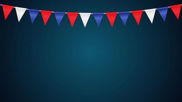 Fondo de fiesta con la ilustración de vector de banderas