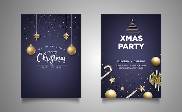 Fondo de fiesta de invitación de cartel de navidad con decoración realista