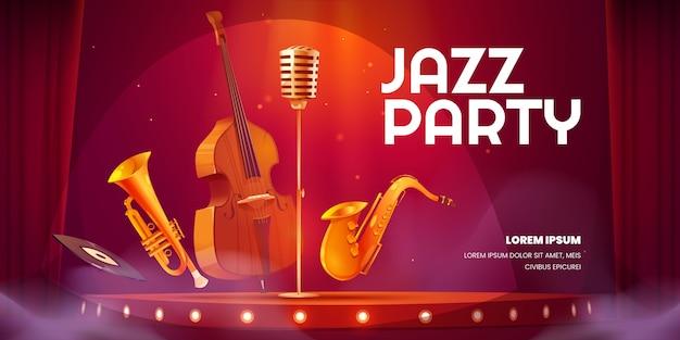 Fondo de fiesta de jazz de dibujos animados