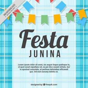Fondo de fiesta junina con banderines