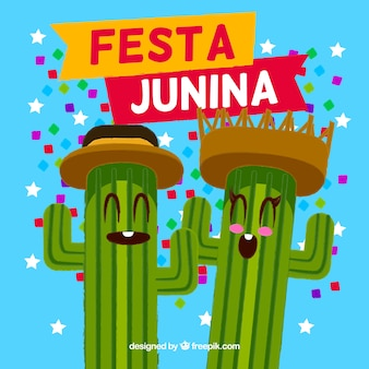 Fondo de fiesta junina con cactus felices
