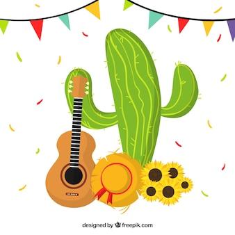 Fondo de fiesta junina con cactus y guitarra