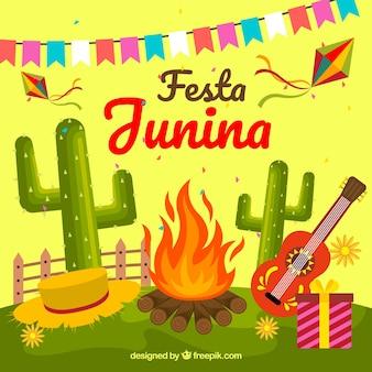 Fondo de fiesta junina con celebración tradicional
