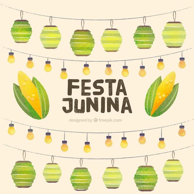 Fondo de fiesta junina de decoración de guirnaldas de acuarela