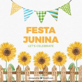 Fondo de fiesta junina con elementos de acuarela