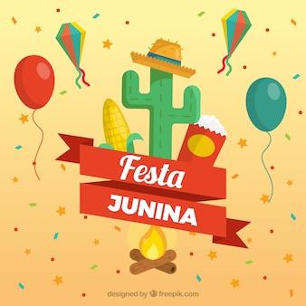 Fondo de fiesta junina con elementos de celebración