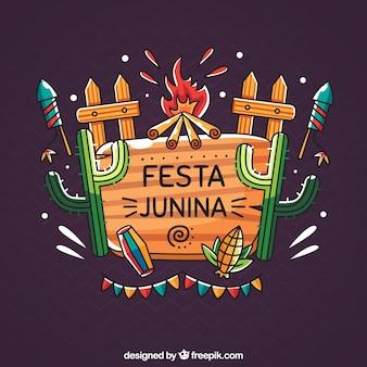 Fondo de fiesta junina con elementos coloridos