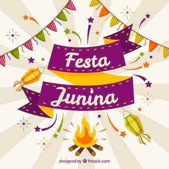 Fondo de fiesta junina con elementos planos