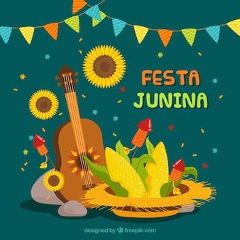 Fondo de fiesta junina con elementos tradicionales