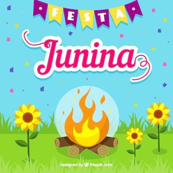 Fondo de fiesta junina con fogata de día