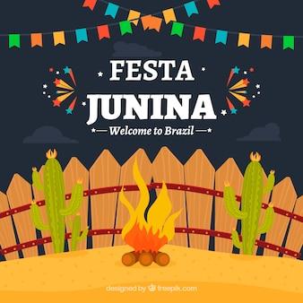 Fondo de fiesta junina con fuego y cactus