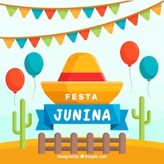 Fondo de fiesta junina con globos y cactus