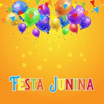 Fondo de fiesta junina con globos, confeti y pancartas.