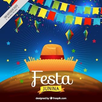 Fondo de fiesta junina con guirnaldas coloridas con sombrero