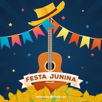 Fondo de fiesta junina con guitarra y maíz
