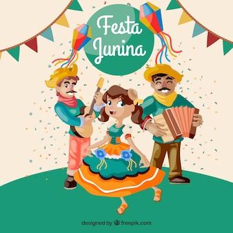 Fondo de fiesta junina con personas bailando y tocando