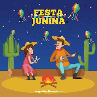 Fondo de fiesta junina con personas cantando y tocando