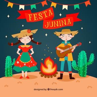 Fondo de fiesta junina con personas tocando y cantando