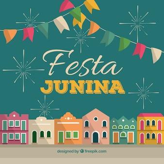 Fondo de fiesta junina con pueblo colorido