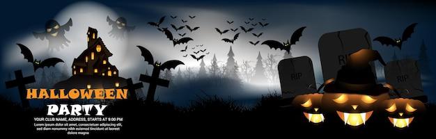 Fondo de fiesta de noche de halloween con casa de terror y calabaza brillante de terror