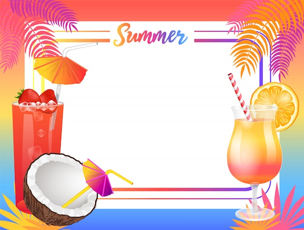 Fondo de fiesta en la playa de verano, muestra de cartel de vector