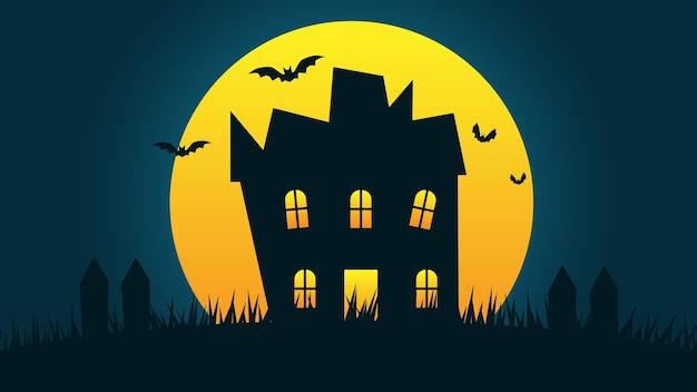 Fondo de fiesta de vacaciones de halloween feliz dibujos animados de casa embrujada en colinas con luna llena en el cielo nocturno