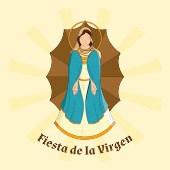 Fondo fiesta de la virgen dibujado a mano