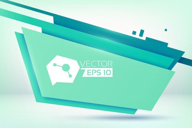 Fondo con figuras planas de cuatro lados coloreadas en diferentes tonos de verde con logo