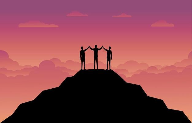Fondo de finanzas empresariales. silueta del equipo de empresario en la montaña. concepto de liderazgo. negocios el éxito. diseño de ilustración de silueta de vector