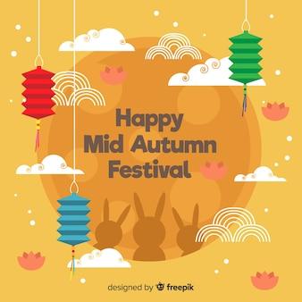 Fondo flat del festival de medio otoño