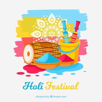 Fondo flat para el holi festival
