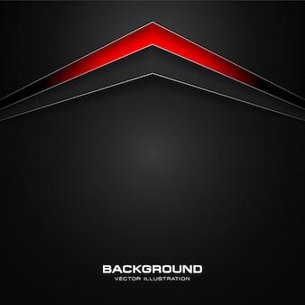 Fondo de flechas de tecnología abstracto rojo y negro