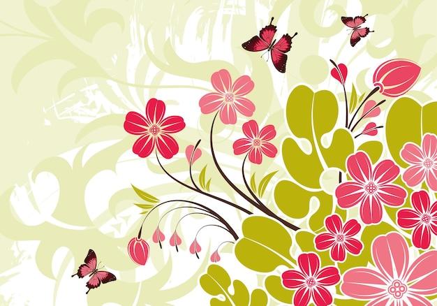Fondo de flor abstracta grunge con mariposa, elemento de diseño, ilustración vectorial