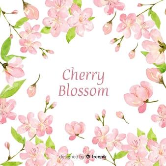 Fondo de flor de cerezo en acuarela