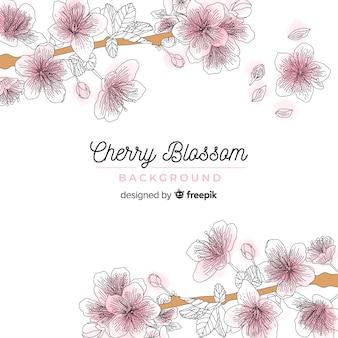 Fondo flor de cerezo dibujado a mano