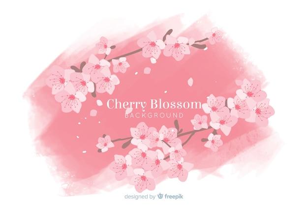 Fondo de flor de cerezo dibujado a mano