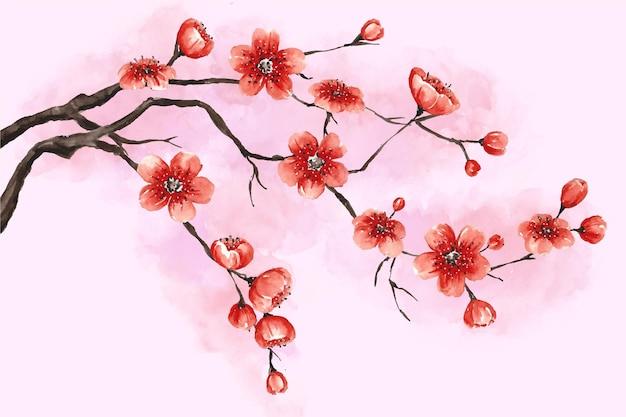 Fondo de flor de ciruelo acuarela