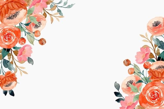 Fondo de flor de durazno rosa con acuarela