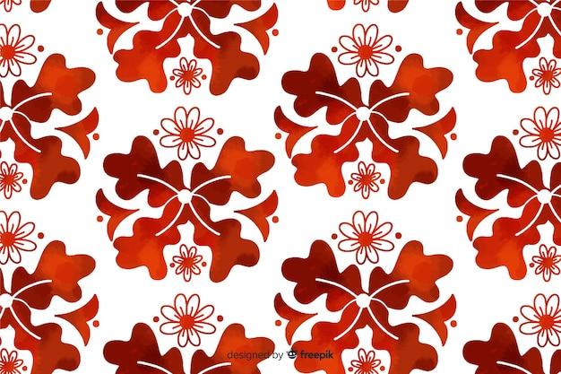 Fondo de flor ornamental marrón acuarela