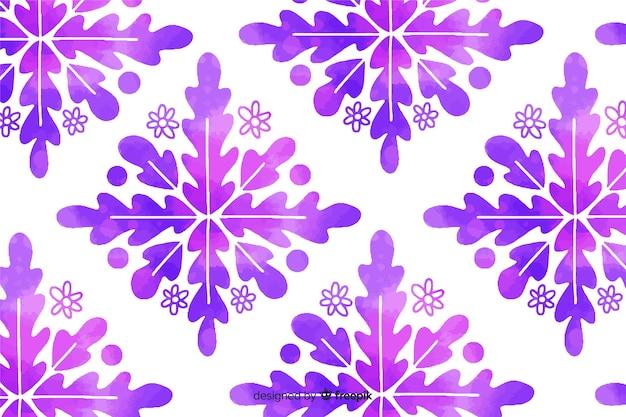 Fondo de flor ornamental púrpura acuarela