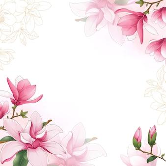 Fondo de flor de primavera con un arte floral de magnolia acuarela