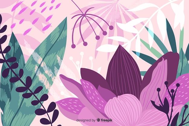 Fondo de flora de selva abstracta dibujada a mano